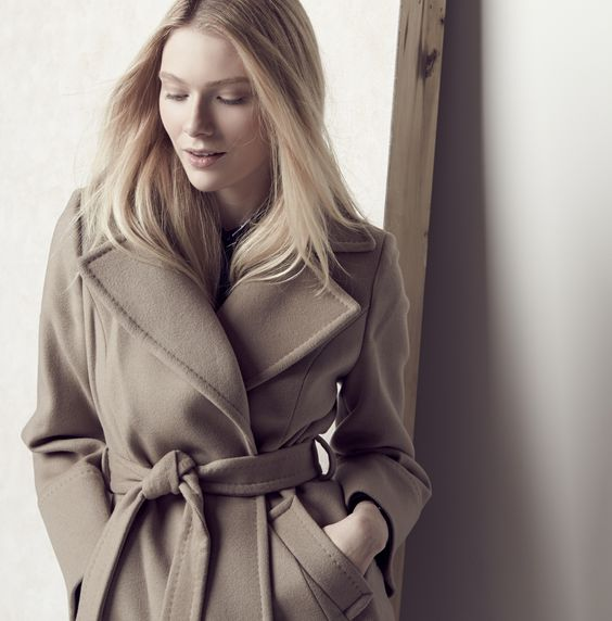 This wool wrap coat will put fall on your mind.