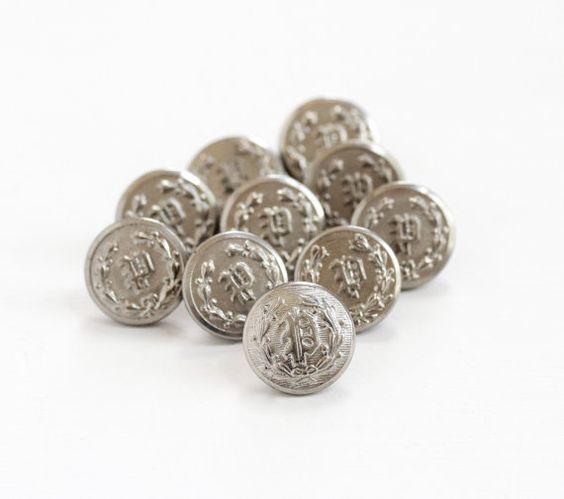Vintage Monogrammed Letter P Button Lot - 10 Antique Silver Tone Art Deco 1930s Police Uniform Shank Buttons, Repoussé Initial P Supplies by Maejean Vintage on Etsy