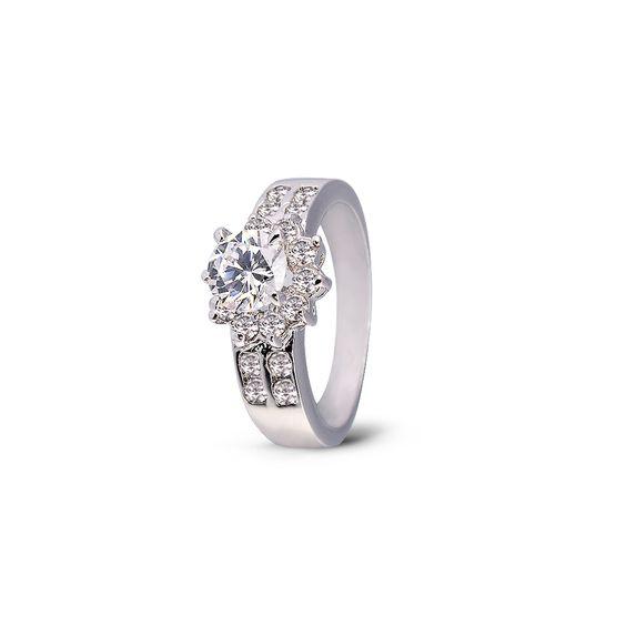 Platinum Plated Rhinestone Finger Ring, Platinum