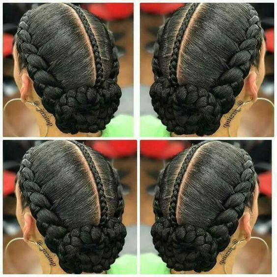 Easy Plats Braids Feeding Braids Natural Hair Updo For Black Women To Try At Home Naturalhairupdo Natural Hair Styles Natural Hair Updo Natural Hair Braids