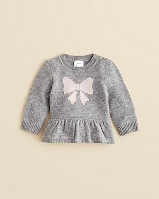 Bloomie's Infant Girls' Bow Intarsia Cashmere Peplum Sweater - Sizes 3-9 Months | Bloomingdale's