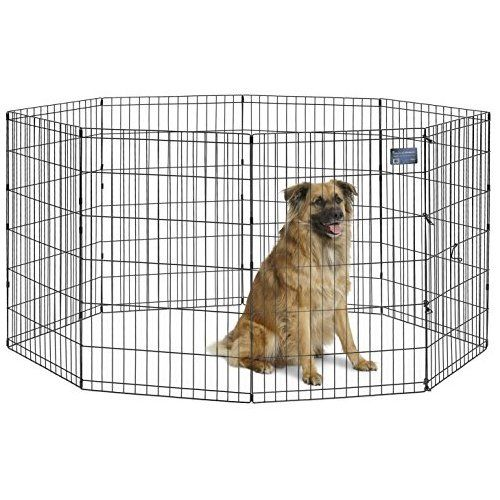 Puppy Playpen Outdoor Back or Front Yard Fence Cage Fencing Doggie Rabbit Cats Playpens Outside Fences with Door Metal Wire 8-Panel Foldable Dog Exercise Pen Pet Playpens for Dogs