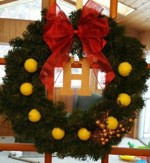 Christmas holiday wreath tennis themed, (: about 25 dollars to make an I went to three stores.. Mills Fleet Farm, Joann Fabrics an Menards. Love Love Love so worth it !