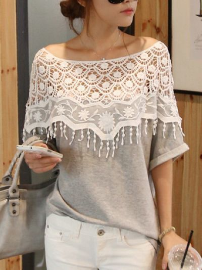 New style sweet lace hollow out T-shirt _T-Shirts