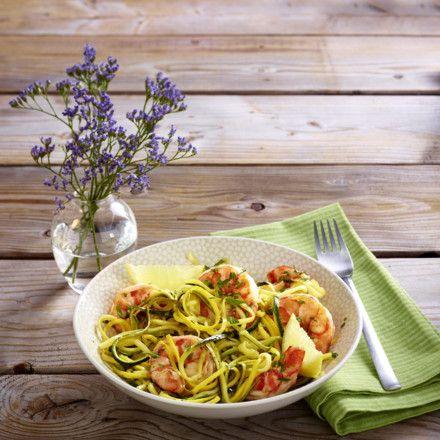 Zucchininudeln mit Garnelen Rezept