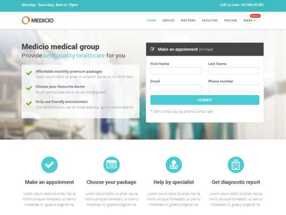 Medicio - Free Medical \ Health Bootstrap Template Web Design - medical report template