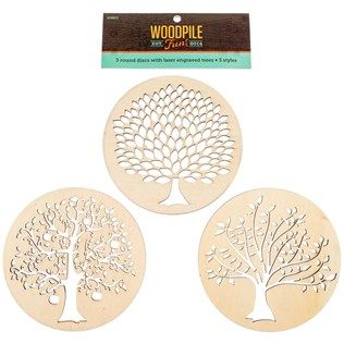 Round wooden discs with laser engraved trees trees for Woodpile fun craft ideas
