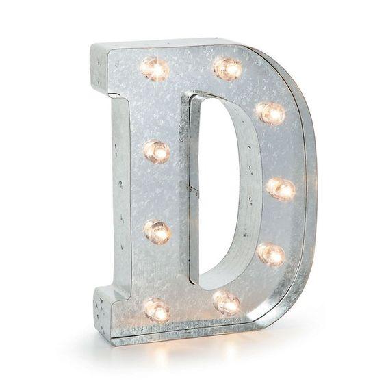 Vitrinen & Schaukästen - D Leuchtbuchstabe silber Marquee Letter - ein Designerstück von vanharte bei DaWanda