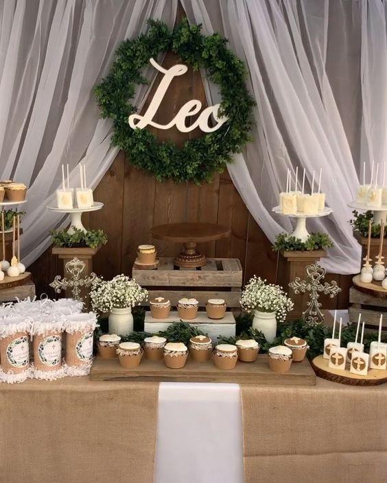 Rustic baptism themed dessert table