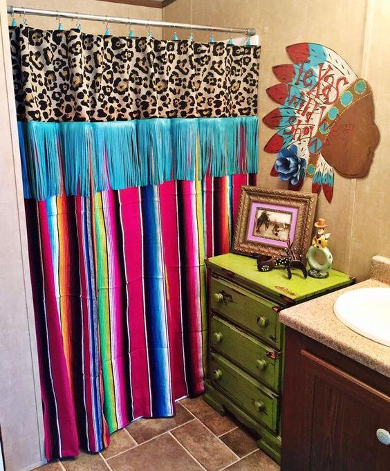 Serape blanket serape shower curtain cheetah print curtain for Cheetah print bathroom ideas
