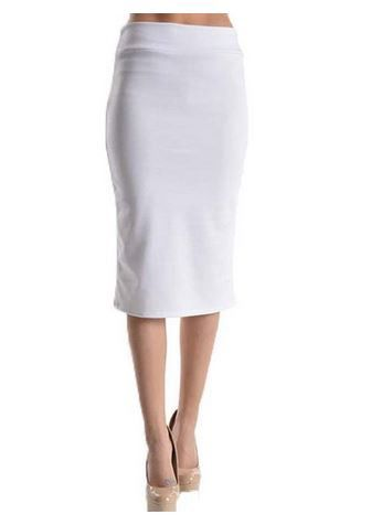Below the Knee Pencil Solid Color Skirt (White) – Niobe Clothing