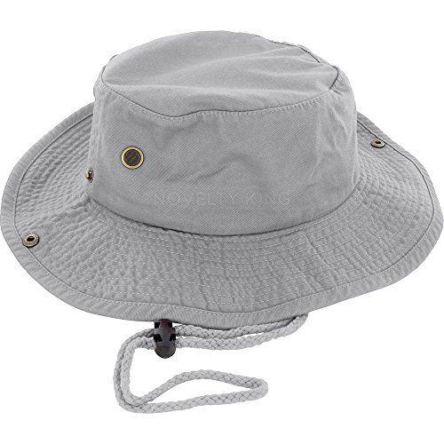 100% Cotton Boonie Fishing Bucket Men Safari Summer String Hat Cap (15+ Colors) Gray S/M DealStock