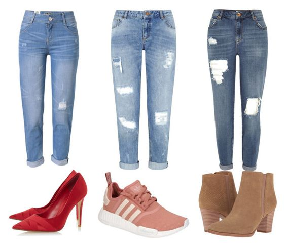 """boyfriend jeans"" by fany-3 on Polyvore featuring moda, WithChic, Miss Selfridge, River Island, adidas, Franco Sarto y Dune:"