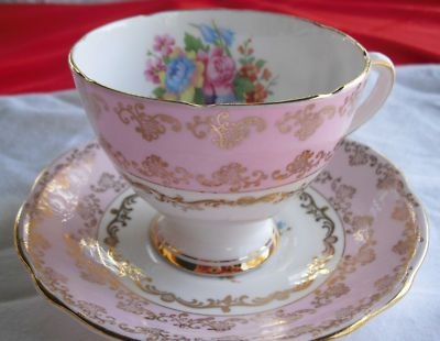 $45.00 #Gladstone footed #cupandsaucer. Pink, Gilt, Flowers decorate fine bone china #teacup. #TucsonTiquesCollectibles http://stores.ebay.com/Tucson-Tiques-Collectibles