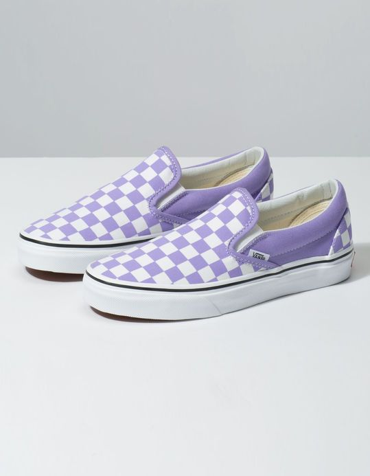 VANS Checkerboard Classic Slip On Violet Tulip & True White