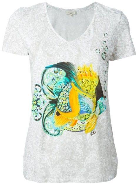Etro  T-Shirt À Poisson Imprimé Gris