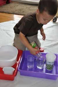 A great fine motor skill...a pouring practice station.