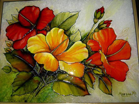 Jolis hibiscus faux vitrail sur toile pinterest hibiscus for Faux vitrail sur miroir