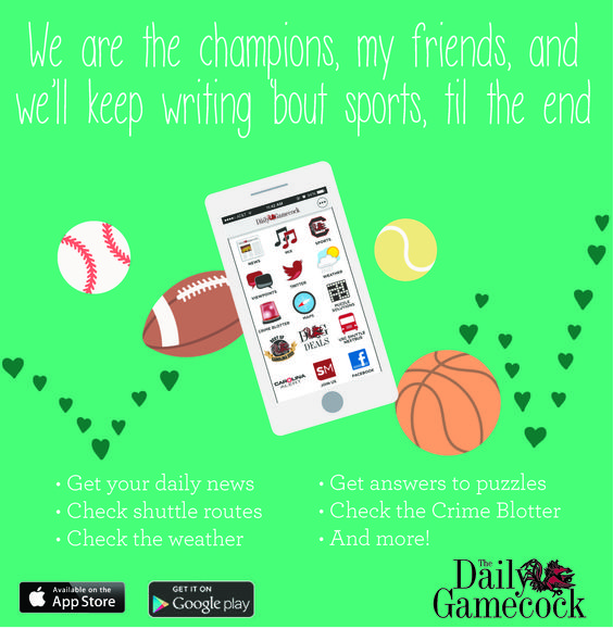 The Daily Gamecock App #sports #app #apple #football #usc #Gamecocks We are the Champions #Music #love ©USCStudentMedia 2015