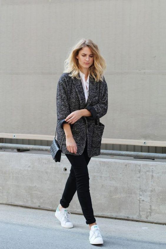 Grey coat + Black pants + White sneakers