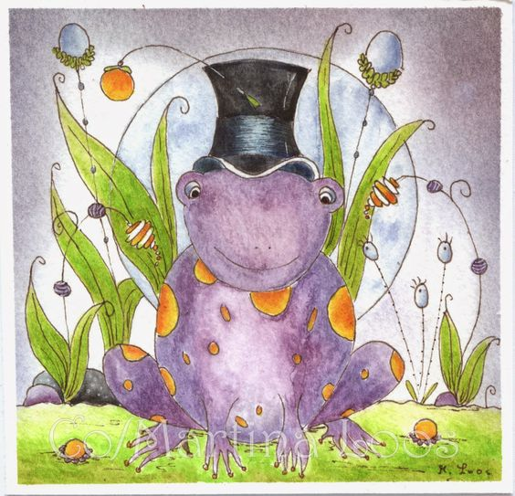 Frog wizzard  Letraset Aquamarker painting with doodle elements painted by Martina Loos