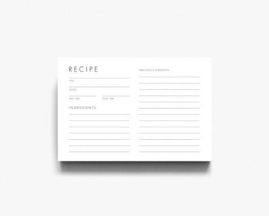 Modern Recipe Card Template Recipe Cards Template Recipe Cards Printable Recipe Cards