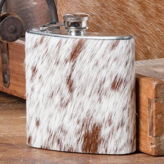 I NEED this!  Small Hair-On Cowhide Flasks