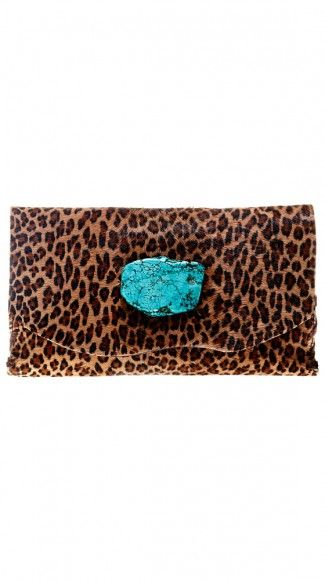 Clutch with turquoise: