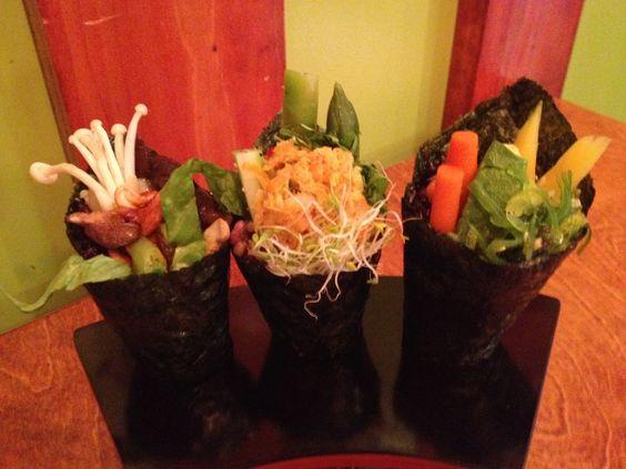 Porcini Mushroom Tempura Sushi Handroll Recipe — Dishmaps