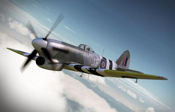 Le Hawker Tempest (tempête) chasseur-bombardier pourfendeur de V1 et de chasseurs à réaction allemands. Seul appareil  allié, avec le P-47 Thunderbolt, à approcher le mur du son (800 km/h en piqué)