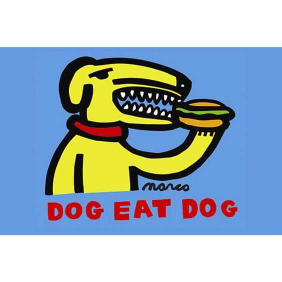 Show off your love of puns with this funny print, which has a yellow dog eating a hot dog. The contemporary print is unframed and ready to be placed anywhere you'd like, easily becoming a great conver