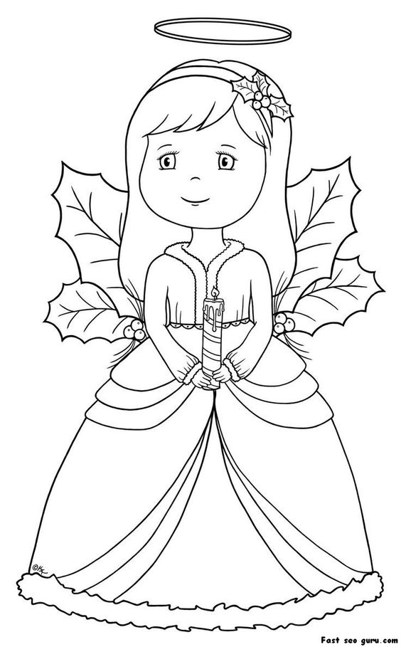 Coloring Pages Angels Kids Christmas Angel Page Homepage