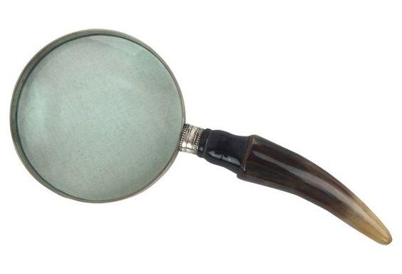 English Antler Magnifying    Glass - Vintage 9.5x4 (265)
