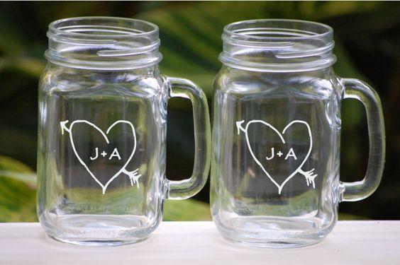 Toasting Glasses - Etched Mason Jar Glasses - Rustic Wedding Barn Decoration - Personalized Wedding Gift - Wedding Shower Gift - Mr and Mrs on Etsy, $24.50