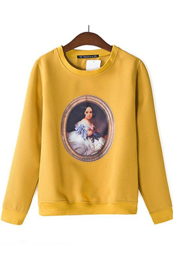Palace Girl Print Pullover in Yellow [FOBK00246] - PersunMall.com