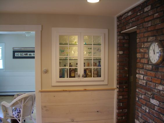 White cabinets, liquor cabinet, built in cabinet, glass doors ...