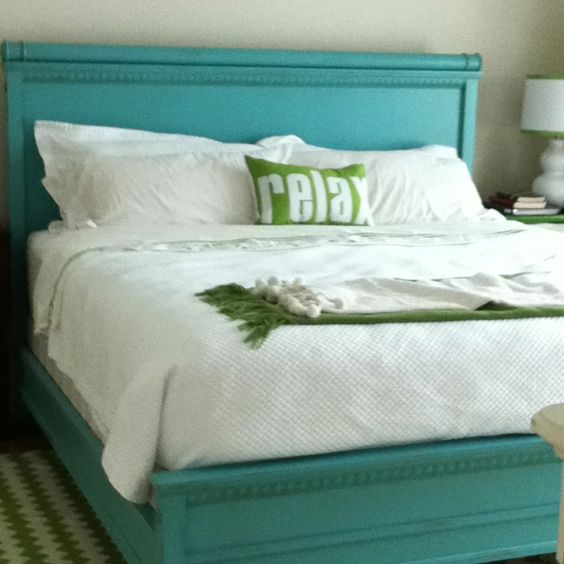 Painted bed frame like this but not as bright dwellings for Turquoise bed frame