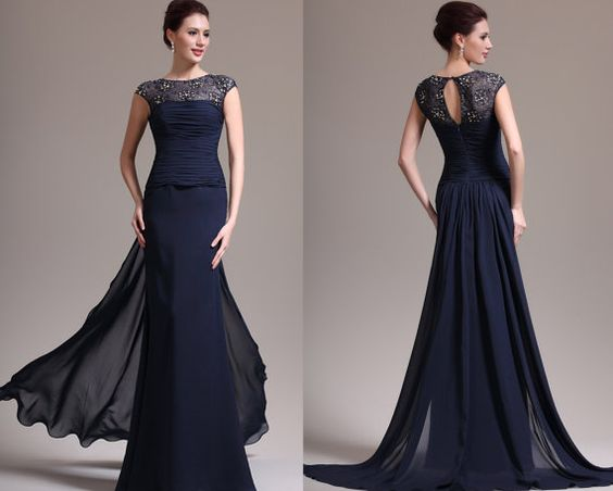 New Sexy Round Neck Lace Dark Blue Mother Of The Bride