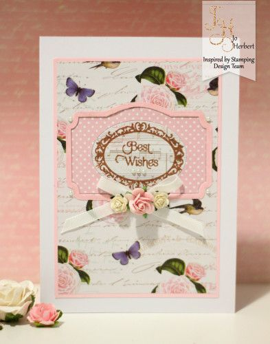 Inspired by Stamping, Jo Herbert, Vintage Floral Paper Pad, Fancy Labels 3 stamp set, Fancy Labels 3 Die, Inlaid Die technqiue, thinking of you card, birthay card