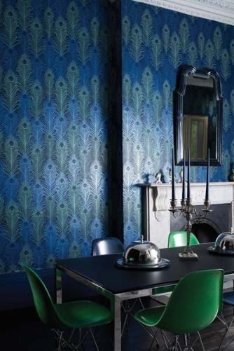 Osborne & Little - Matthew Williamson - Eden Wallpaper - Peacock - 10m Roll: