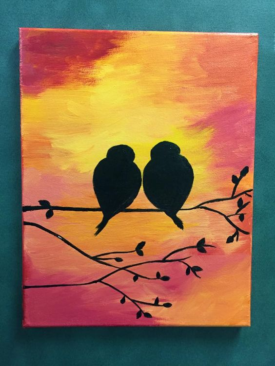Acrylic Painting on Canvas by Lisa Fontaine.  Sunset.  Love Birds.  Love.  Birds.