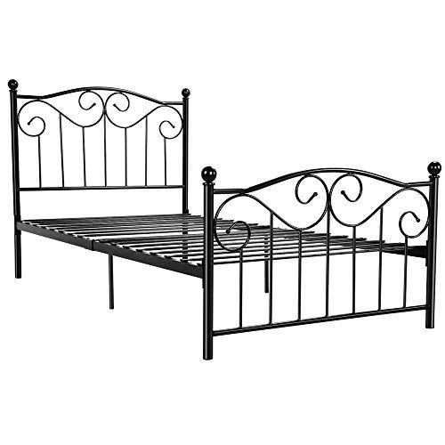 Yaheetech Kids Adults Metal Bed Frame Twin Size With Headboard And Footboard Mattress Foundation Easy To Put Together Black In 2020 Bed Frame And Headboard Headboard And Footboard Twin Bed Frame