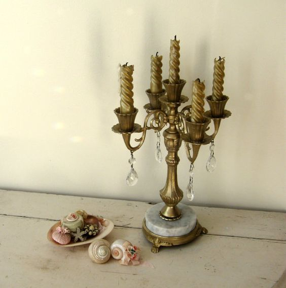 Candelabra romantic candle holder centerpiece with marble for Picture frame candle centerpiece
