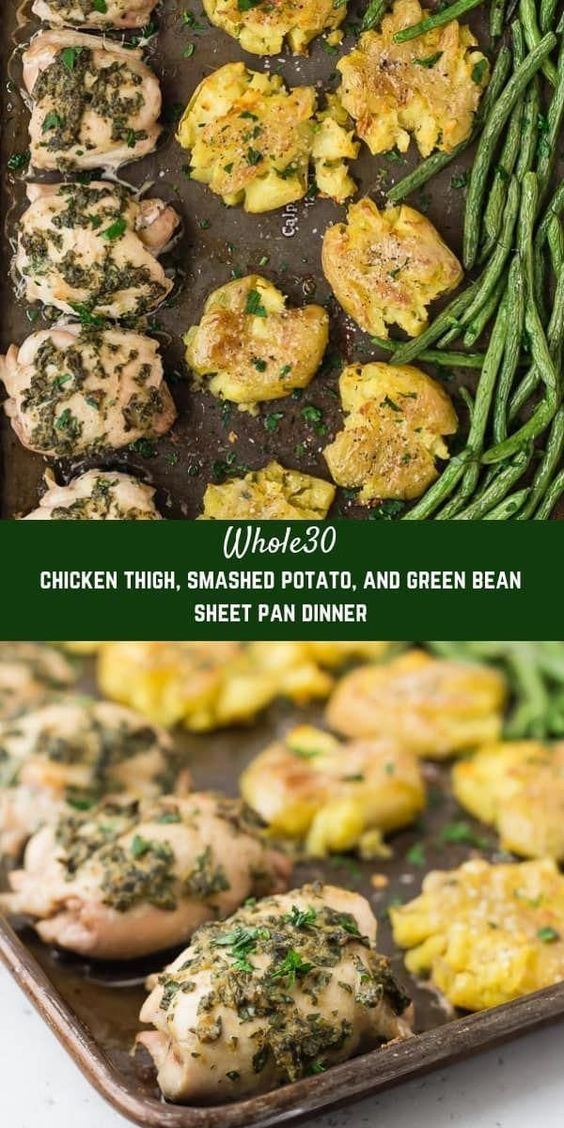 Whole30 Chicken Thighs Sheet Pan Dinner with Smashed Potatoes