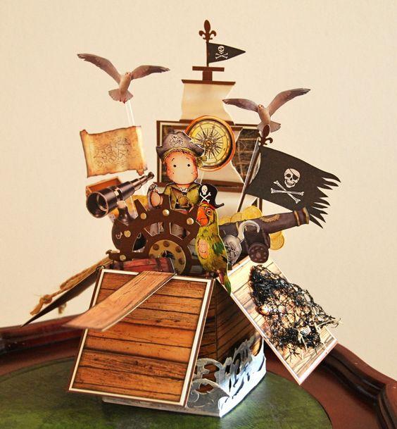 Pop up Card in a Box. Pirate Box Card. Magnolia Tilda Pirate Edwin.