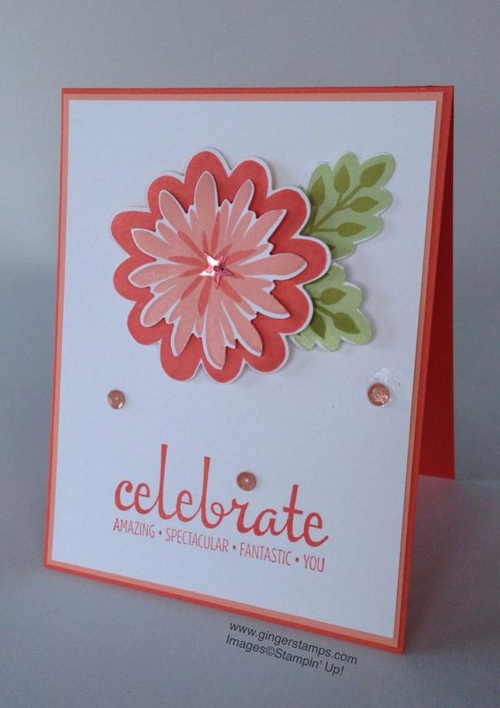 Love the simplicity of this one. Flower Patch & Fabulous Four stamp sets from Stampin' Up!