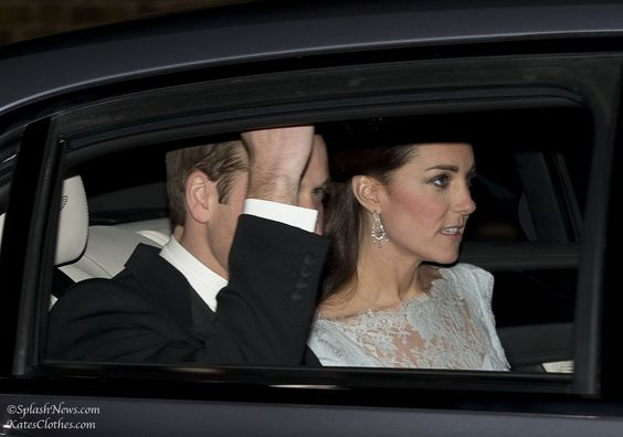 The Duke and Duchess of Cambridge on their way to a White-Tie Diplomats' Reception December 3, 2013. The Duchess wore Bespoke Cream Lace dress by Designer Alexander McQueen   Kate's Clothes