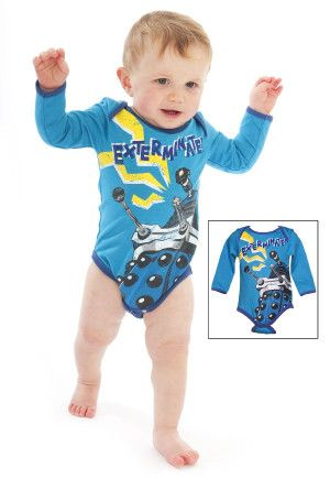 doctor who baby clothes dalek onesie This official licensed onesie is a Doctor Who baby outfit you don't want to miss. The coolest villain in science fiction is displayed on this Doctor Who onesie. In a soft blue with yellow lightning bolts, get ready to exterminate any doubt you are raising the coolest geek baby in the universe. When you need to get some Doctor Who merchandise on your little one or just looking for the perfect geek baby shower gift…