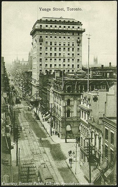 Yonge Street, Toronto, Ontario, Canada    Creator: W.G. MacFarlane (Publisher)  Date: 1910 Traders Bank in the background.