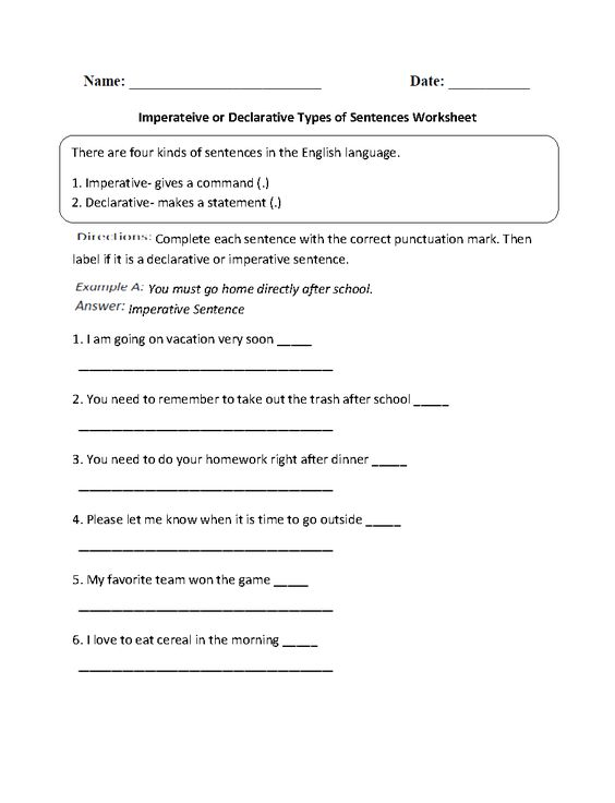 Imperative or Declarative Types of Sentences Worksheet – Types of Sentences Worksheets